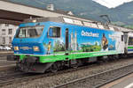 SOB 456 091 advertises on 6 June 2015 at Arth-Goldau for her own train, the VorAlpenExpress.