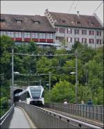 A local train to Winterthur is entering into the tunnel near the Rhine Falls in Neuhausen am Rheinfall on September 13th, 2012.