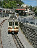 An A-L local train is approaching the Leysin Feydey Station.