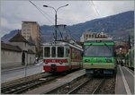 AOMC local trains in Monthey Ville.