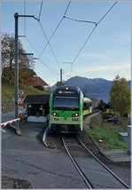 A new TPC (AOMC) local train Beh 2/6 makes a stop in Croix-du-Nant.