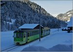 Winter by Les Diablerets: A ASD local train on the way to Aigle.