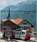 A tpf train is waiting for passengers in Montbovon on May 25th, 2012.