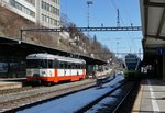 The transN BDe 4/4 N* 3 and the transN Flirt 527 332 in Le Locle.