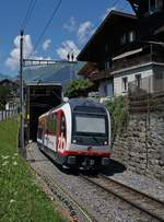 The Zentralbahn ABe 161 015  Fink  is leaving Brienz on the way to Interlaken East.