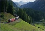 The RhB Ge 4/4 III 642 with an Fast Train from St Moritz to Chur over Bergün Bravougn.
