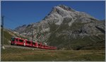 A Bernina Express to Tirano between Bernina Lagalp and Ospizio.