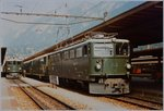 The green Rhb Ge 6/6 706 in Chur.