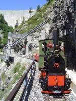 2 ft gauge steam engine  Liseli  (Jung No 1693, built 1911) in service on the high alpin panoramic railway of  Parc d'Attractions du Chatelard (VS)  in Switzerland.