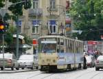 Tram number 1112 crosses the Prospekt Svoboda in Lviv on 04-06-2010.