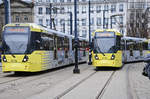 Manchester Metro Link Trams 3018 and 3046 (Bombardier M5000) at Piccadilly Gardens.