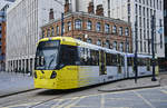 Tram 3093 (Bombardier M5000) on Manchester Metrolink line 2 (Purple Line) on its way to Eccles.