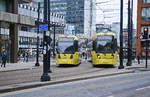 Tram 3024 and Tram 3096 on Manchester Metrolink at the Station Piccadilly Gardens. Date: March 11, 2018.