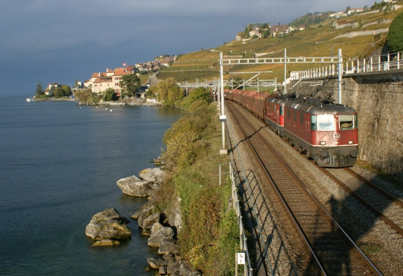 Tow re 4/4 II with a Cargo Train by Rivaz.