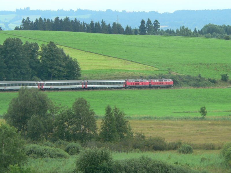 Two class 218 locomotives with an Eurocity near Wangen im Allgäu, 2006
